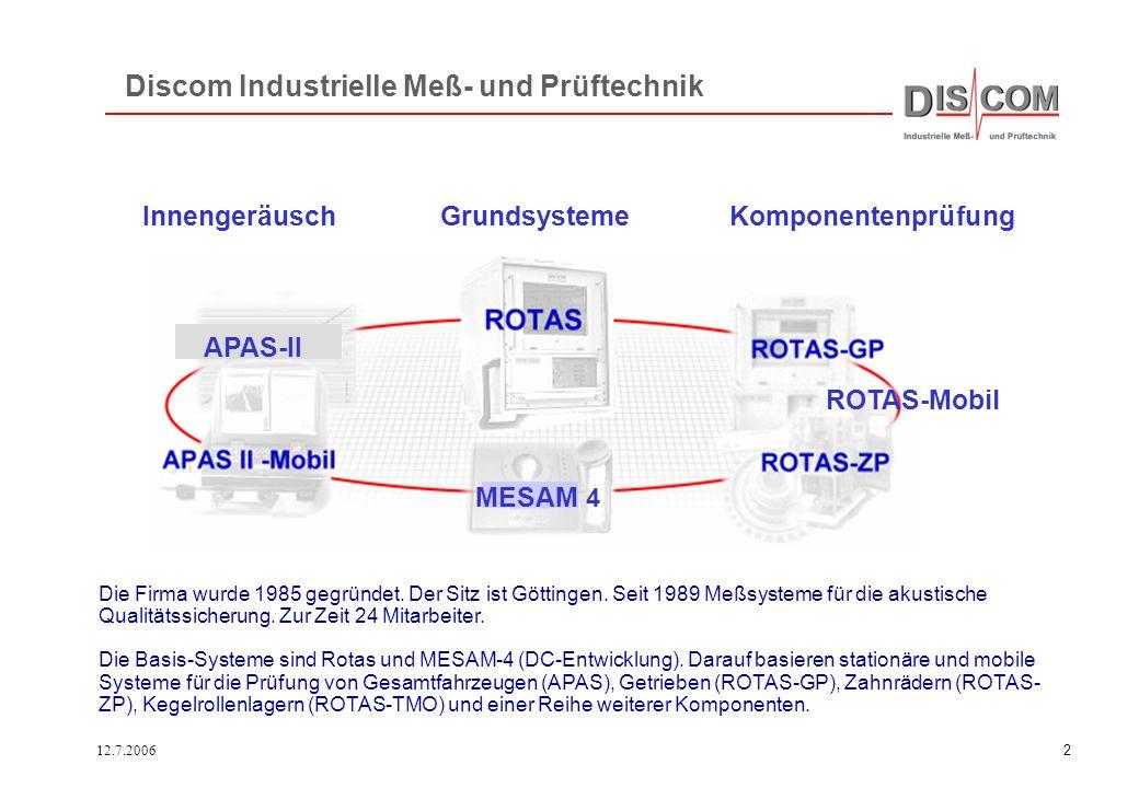 12.7.20061 Meßsystem und Auswertung RotasPro Geräuschanalyse