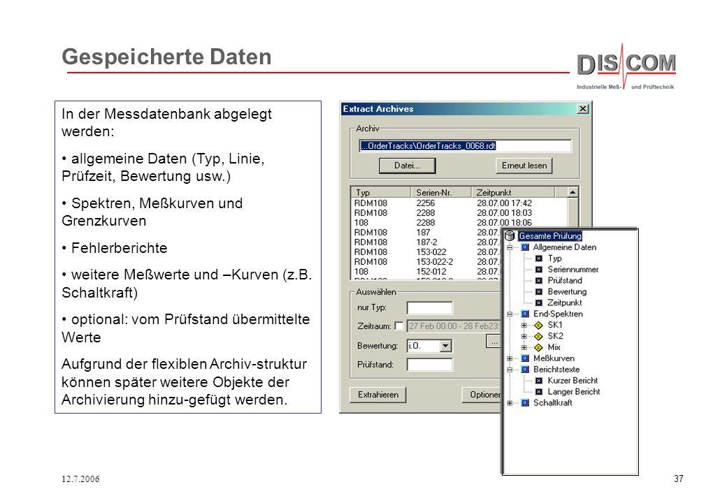 12.7.200636 Inhalt der SQL-Datenbank Allgemeine Daten Typ, Linie, Zeitpunkt, Bewertung,... Fehlerberichte - Fehlercodes, zugehörige Meßwerte, Grenzen