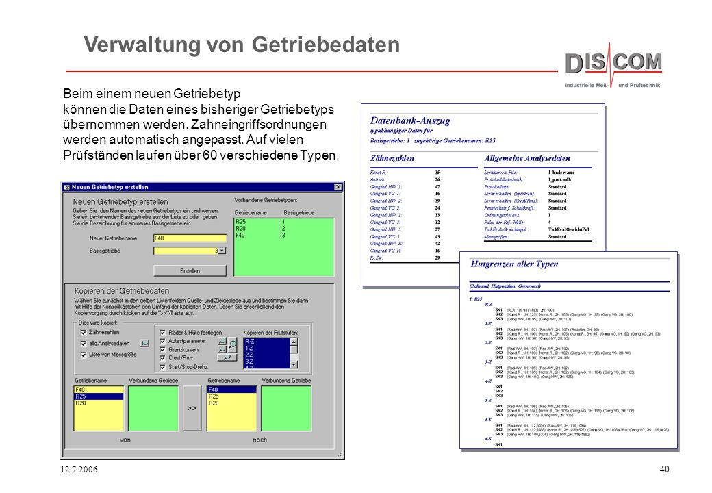 12.7.200639 Gelbe Felder sind auszufüllen, grüne Felder werden automatisch berechnet. Rotas Getriebe-Datenbank