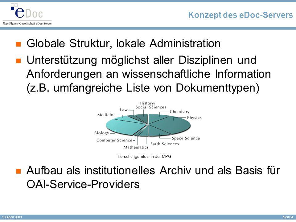 Seite 4 10 April 2003 Konzept des eDoc-Servers Globale Struktur, lokale Administration Unterstützung möglichst aller Disziplinen und Anforderungen an wissenschaftliche Information (z.B.