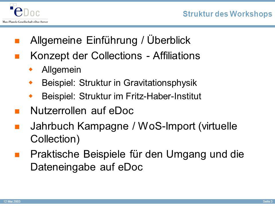 Seite 3 12 Mai 2003 Struktur des Workshops Allgemeine Einführung / Überblick Konzept der Collections - Affiliations Allgemein Beispiel: Struktur in Gr