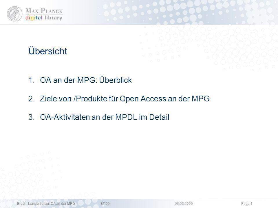 Open Access an der Max-Planck-Gesellschaft: Aktivitäten und Gemeinsame Schritte Dr. Christoph Bruch, Anja Lengenfelder, OA Policy, MPDL XXXII. Bibliot
