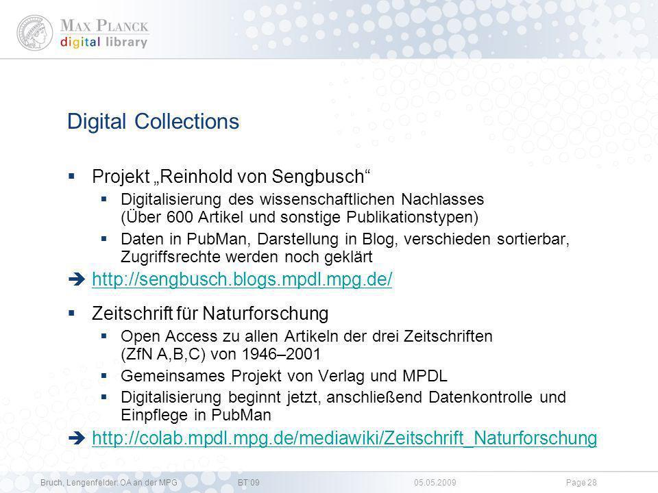 Bruch, Lengenfelder: OA an der MPGBT09 05.05.2009Page 27 §137l-Projekt II *Ausgewählte Problemstellungen Allgemein Erfassen der bibliographischen Anga