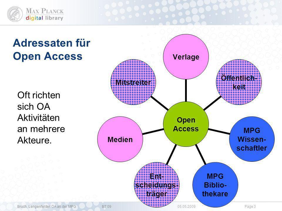 Bruch, Lengenfelder: OA an der MPGBT09 05.05.2009Page 2 MPG extern Open Access an der MPG - Überblick: Aktivitätsbereiche Die Open Access Politik der MPG umfasst zwei Aktivitätsbereiche: MPG intern