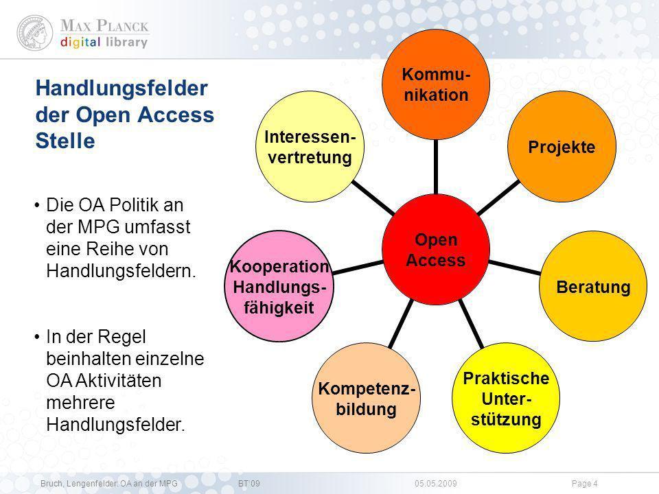 Bruch, Lengenfelder: OA an der MPGBT09 05.05.2009Page 3 Open Access Verlage Öffentlich- keit MPG Wissen- schaftler MPG Biblio- thekare Ent- scheidungs- träger MedienMitstreiter Adressaten für Open Access Oft richten sich OA Aktivitäten an mehrere Akteure.