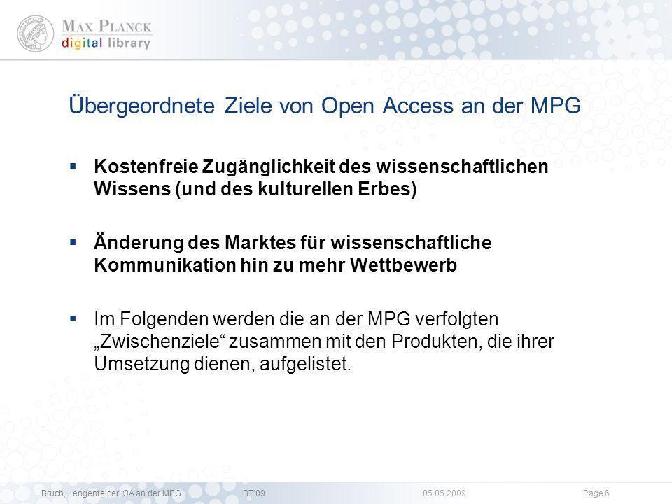 Bruch, Lengenfelder: OA an der MPGBT09 05.05.2009Page 5 OA Aktivitäten und Handlungsfelder