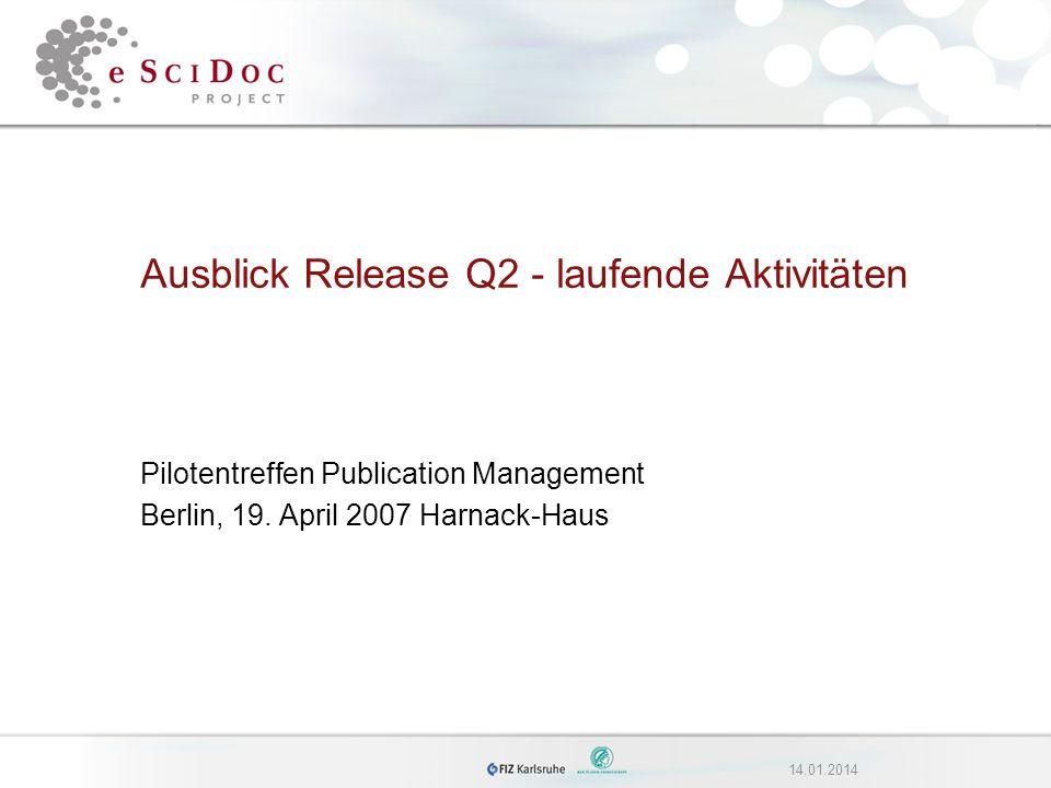 214.01.2014eSciDoc Funktionaler Scope Q2 - I Höchste Priorität: –Versionierung Modify item (inkl.