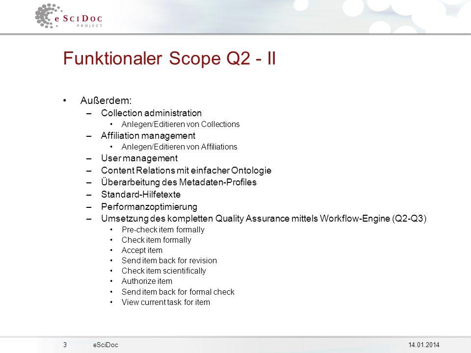 414.01.2014eSciDoc Laufende Aktivitäten Kontinuierliche Spezifikation für Q2 –Funktionale Spez.