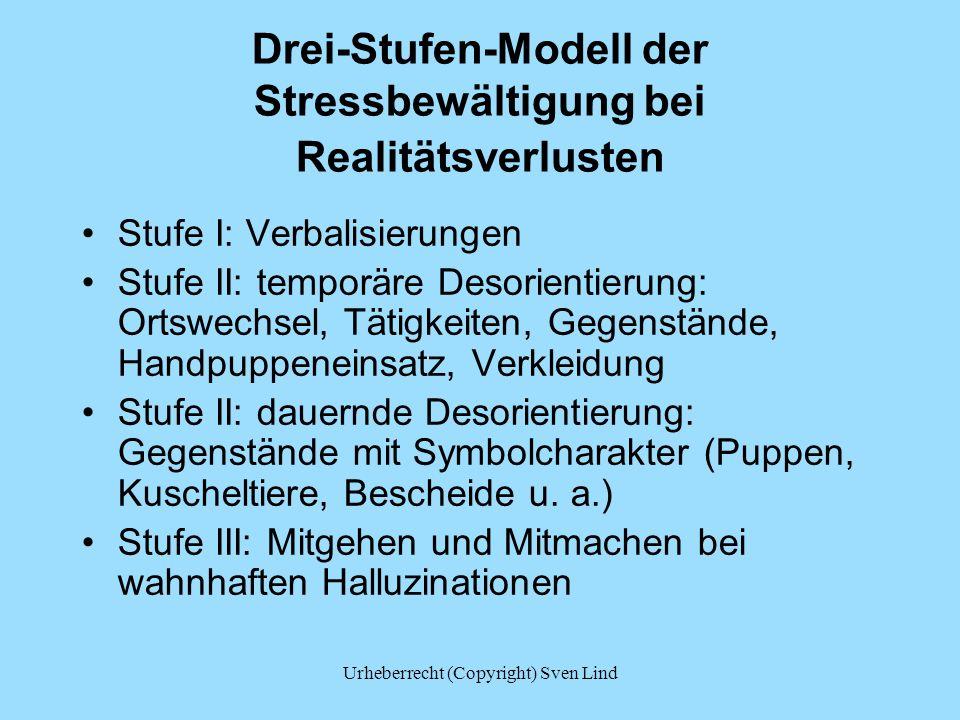 Urheberrecht (Copyright) Sven Lind Drei-Stufen-Modell der Stressbewältigung bei Realitätsverlusten Stufe I: Verbalisierungen Stufe II: temporäre Desor