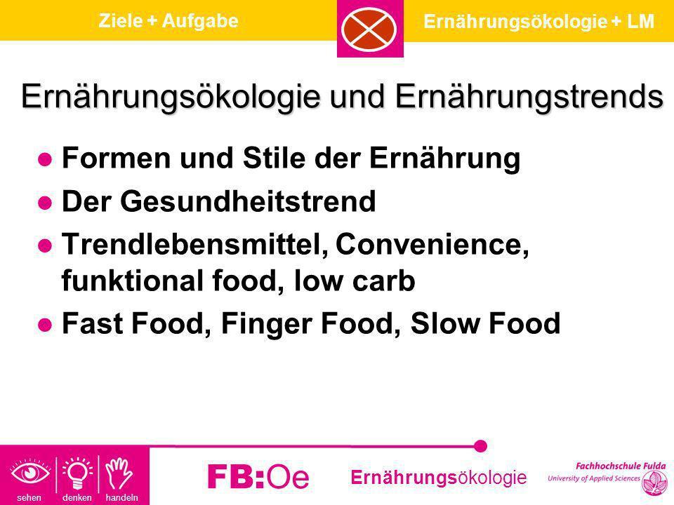 sehen denken handeln Ernährungsökologie FB:Oe Ernährungsökologie und Ernährungstrends Formen und Stile der Ernährung Der Gesundheitstrend Trendlebensm