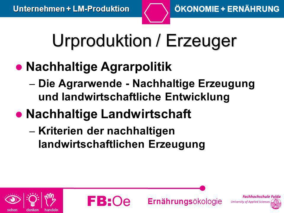 sehen denken handeln Ernährungsökologie FB:Oe Urproduktion / Erzeuger Nachhaltige Agrarpolitik – Die Agrarwende - Nachhaltige Erzeugung und landwirtsc