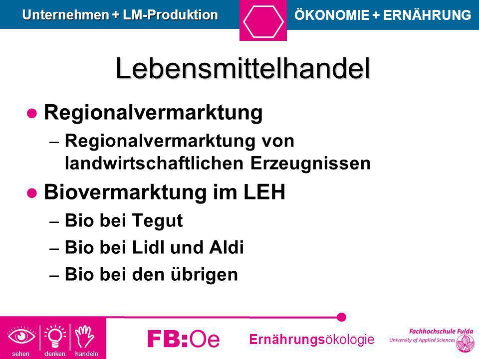 sehen denken handeln Ernährungsökologie FB:Oe Lebensmittelhandel Regionalvermarktung – Regionalvermarktung von landwirtschaftlichen Erzeugnissen Biove