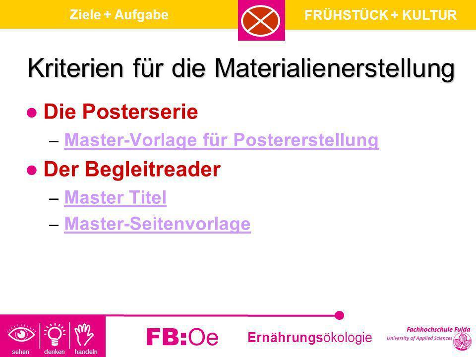 sehen denken handeln Ernährungsökologie FB:Oe Kriterien für die Materialienerstellung Die Posterserie – Master-Vorlage für Postererstellung Master-Vor