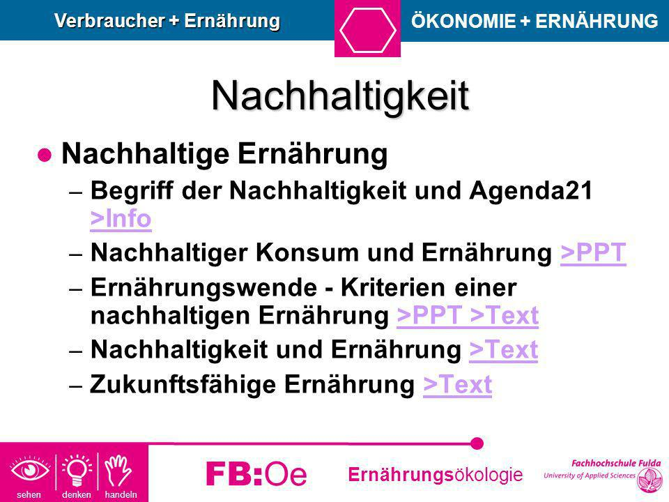 sehen denken handeln Ernährungsökologie FB:Oe Nachhaltigkeit Nachhaltige Ernährung – Begriff der Nachhaltigkeit und Agenda21 >Info >Info – Nachhaltige