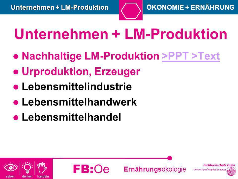 sehen denken handeln Ernährungsökologie FB:Oe Unternehmen + LM-Produktion Nachhaltige LM-Produktion >PPT >Text>PPT >Text Urproduktion, Erzeuger Lebens