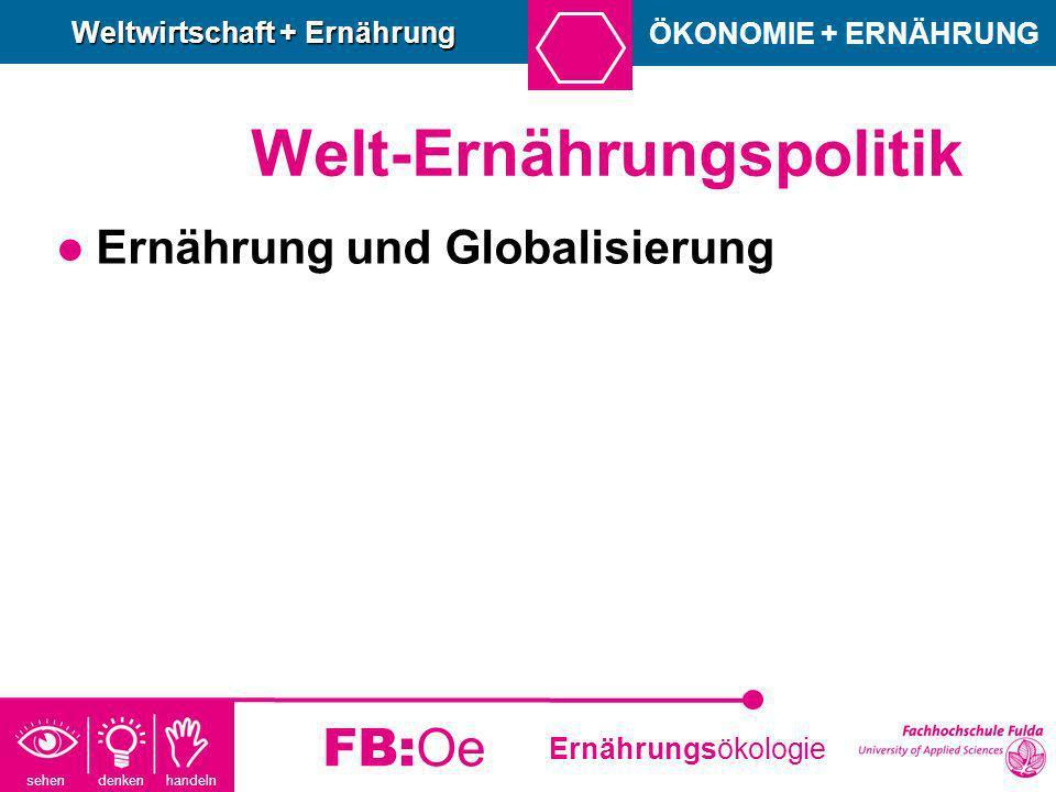 sehen denken handeln Ernährungsökologie FB:Oe Welt-Ernährungspolitik Ernährung und Globalisierung ÖKONOMIE + ERNÄHRUNG Weltwirtschaft + Ernährung