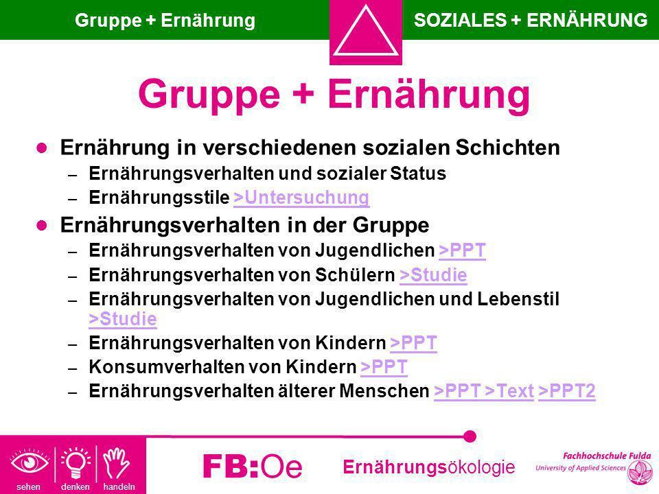 sehen denken handeln Ernährungsökologie FB:Oe Gruppe + Ernährung Ernährung in verschiedenen sozialen Schichten – Ernährungsverhalten und sozialer Stat