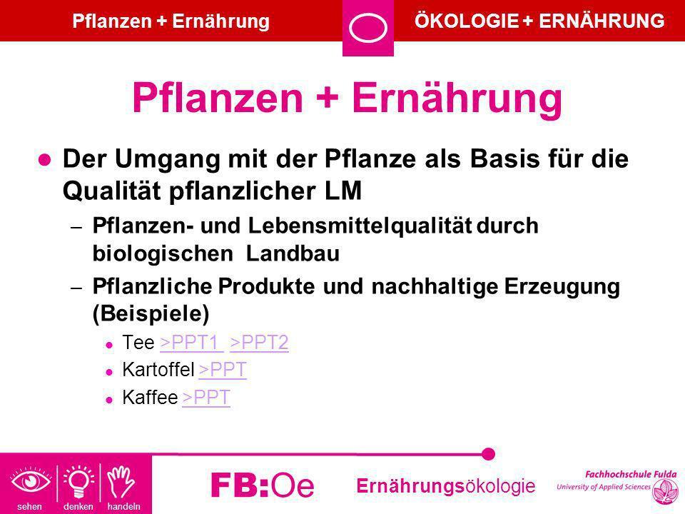 sehen denken handeln Ernährungsökologie FB:Oe Pflanzen + Ernährung Der Umgang mit der Pflanze als Basis für die Qualität pflanzlicher LM – Pflanzen- u
