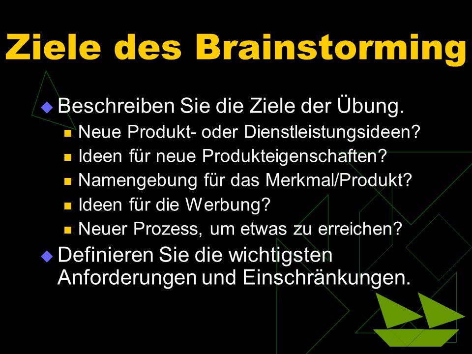 Ziele des Brainstorming Beschreiben Sie die Ziele der Übung. Neue Produkt- oder Dienstleistungsideen? Ideen für neue Produkteigenschaften? Namengebung