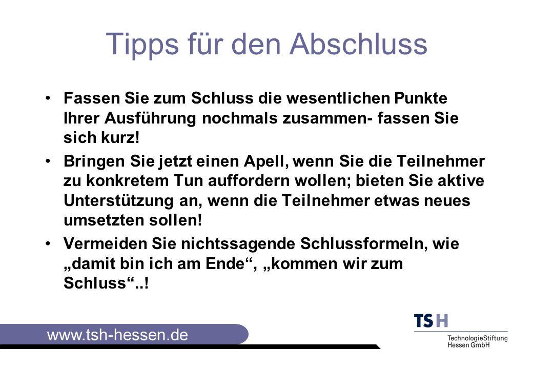 www.tsh-hessen.de Sprechunarten vermeiden: Füll- und Modeworte Konjunktivierung Pausenfüller Schachtelsätze