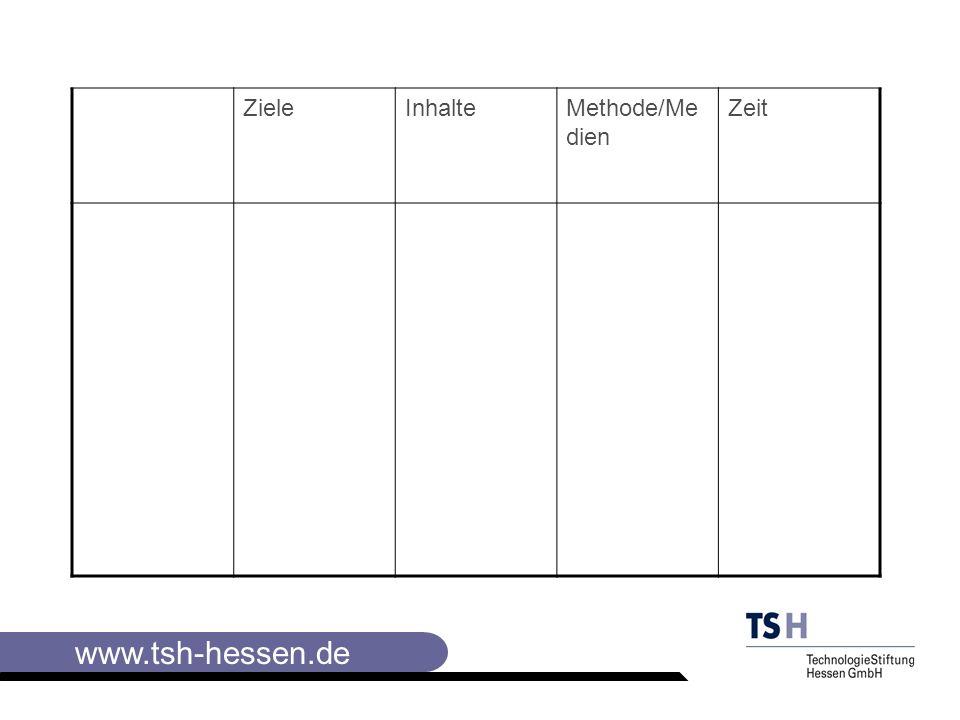 www.tsh-hessen.de Schluß -kurze Zusammen- fassung -Ausblick -Weiteres Vorgehen -Behalten steigern -Neugierde erhalten -Zum Handeln anregen, einbeziehen