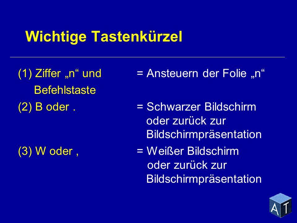 Wichtige Tastenkürzel (1) Ziffer n und= Ansteuern der Folie n Befehlstaste (2) B oder.= Schwarzer Bildschirm oder zurück zur Bildschirmpräsentation (3