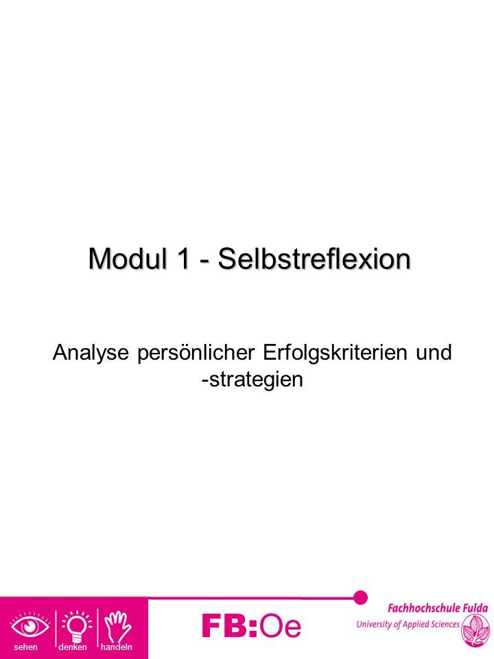sehen denken handeln FB:Oe Modul 1 - Selbstreflexion Analyse persönlicher Erfolgskriterien und -strategien