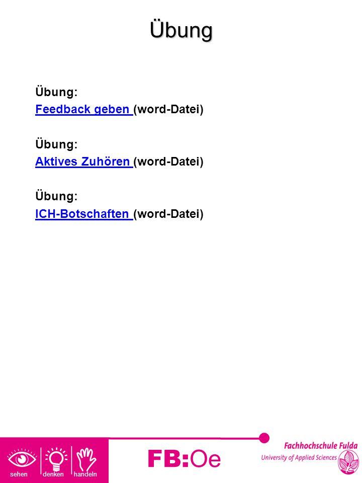 sehen denken handeln FB:OeÜbung Übung: Feedback geben Feedback geben (word-Datei) Übung: Aktives Zuhören Aktives Zuhören (word-Datei) Übung: ICH-Botsc