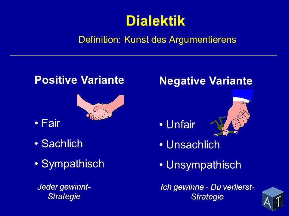 Jeder gewinnt- Strategie Ich gewinne - Du verlierst- Strategie Dialektik Definition: Kunst des Argumentierens Positive Variante Fair Sachlich Sympathi