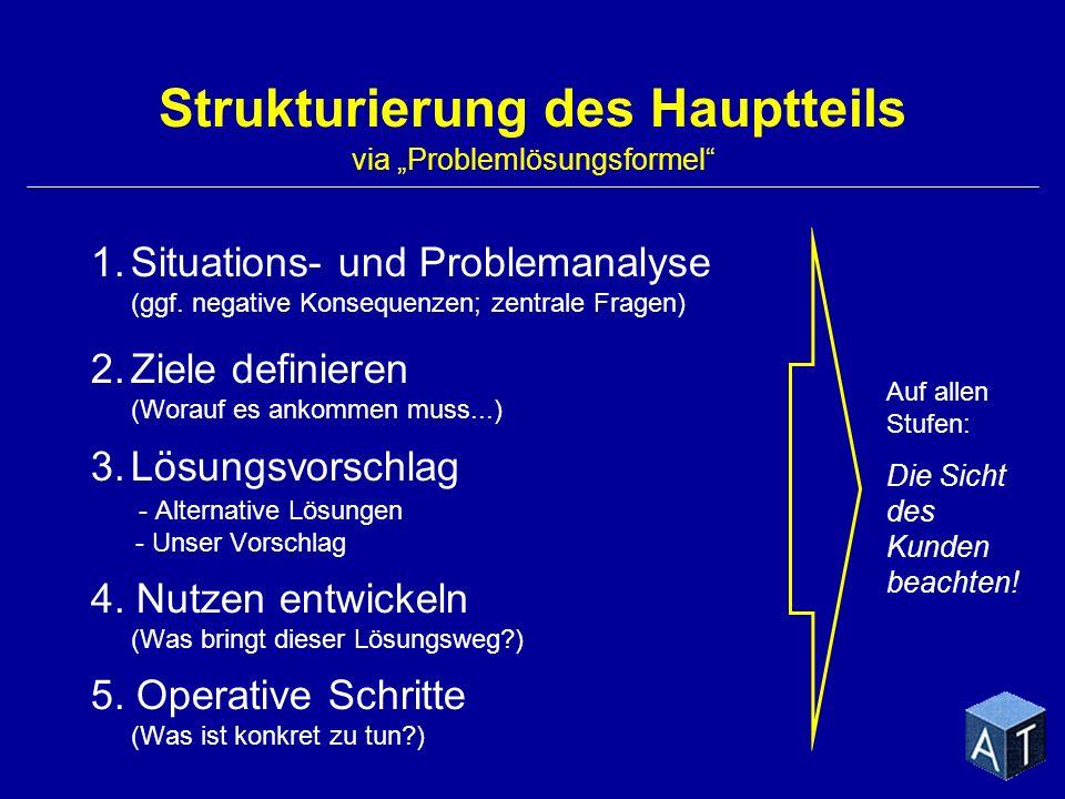 1.Situations- und Problemanalyse (ggf. negative Konsequenzen; zentrale Fragen) 2.Ziele definieren (Worauf es ankommen muss...) 3.Lösungsvorschlag - Al