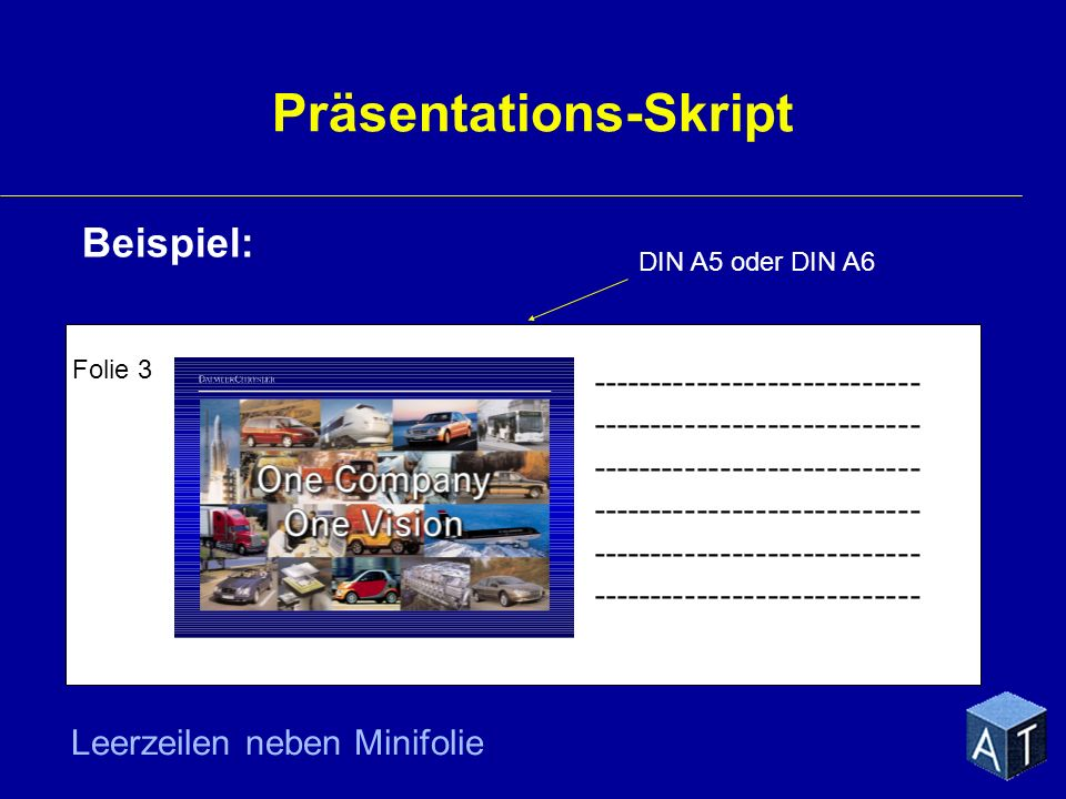 Präsentations-Skript Beispiel: Folie 3 ---------------------------- DIN A5 oder DIN A6 Leerzeilen neben Minifolie