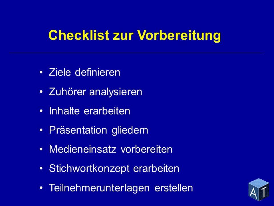 Checklist zur Vorbereitung Ziele definieren Zuhörer analysieren Inhalte erarbeiten Präsentation gliedern Medieneinsatz vorbereiten Stichwortkonzept er