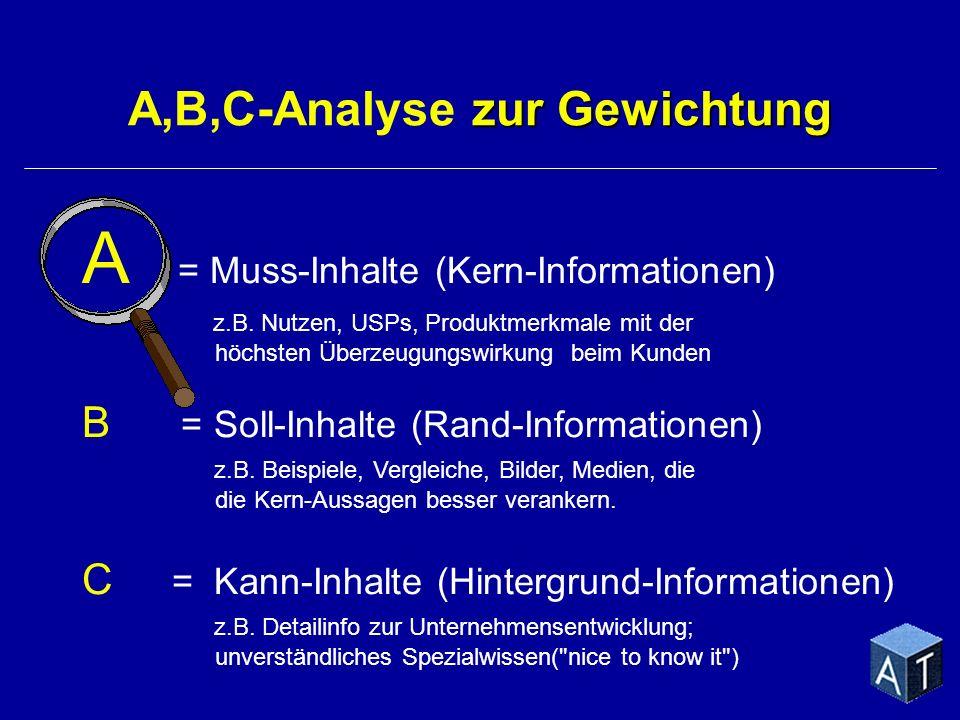 A = Muss-Inhalte (Kern-Informationen) z.B. Nutzen, USPs, Produktmerkmale mit der höchsten Überzeugungswirkung beim Kunden B = Soll-Inhalte (Rand-Infor