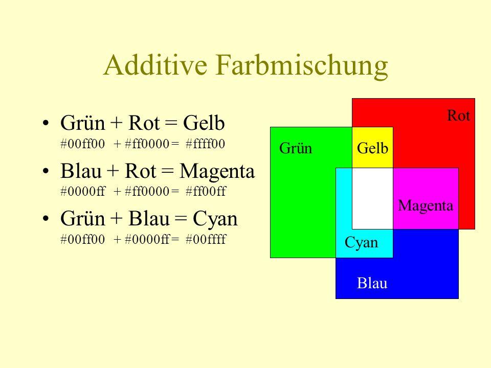 Additive Farbmischung Rot Grün Blau Gelb Cyan Magenta Grün + Rot = Gelb #00ff00 + #ff0000 = #ffff00 Blau + Rot = Magenta #0000ff + #ff0000 = #ff00ff G