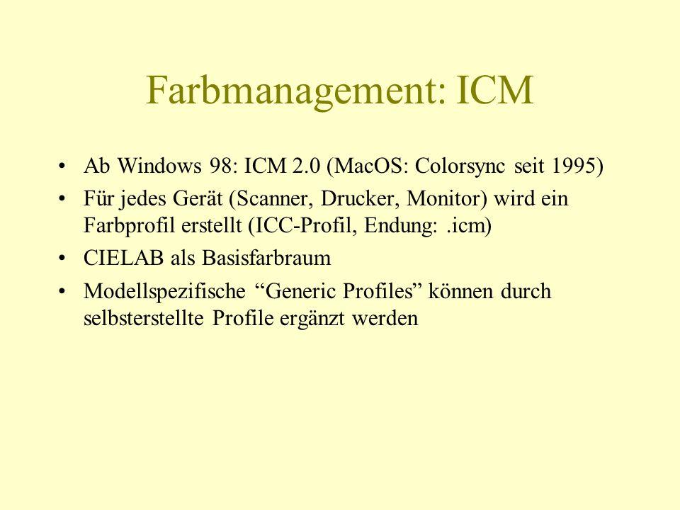 Farbmanagement: ICM Ab Windows 98: ICM 2.0 (MacOS: Colorsync seit 1995) Für jedes Gerät (Scanner, Drucker, Monitor) wird ein Farbprofil erstellt (ICC-