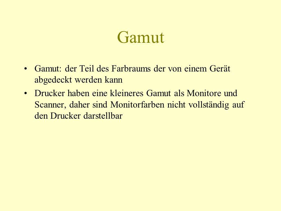 Gamut Gamut: der Teil des Farbraums der von einem Gerät abgedeckt werden kann Drucker haben eine kleineres Gamut als Monitore und Scanner, daher sind