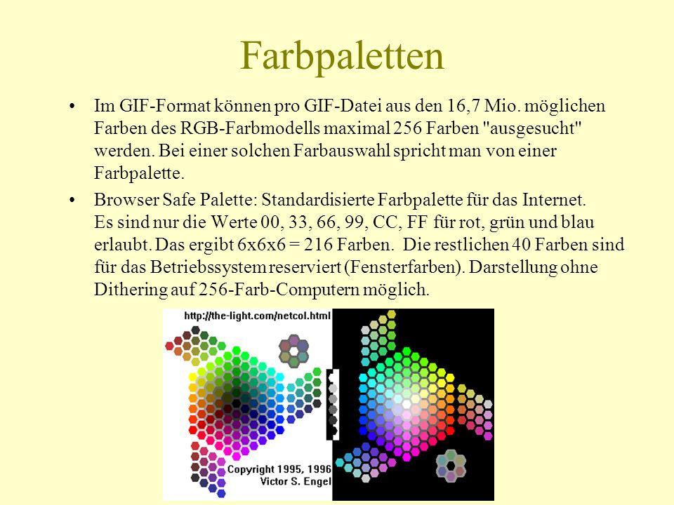 Farbpaletten Im GIF-Format können pro GIF-Datei aus den 16,7 Mio. möglichen Farben des RGB-Farbmodells maximal 256 Farben