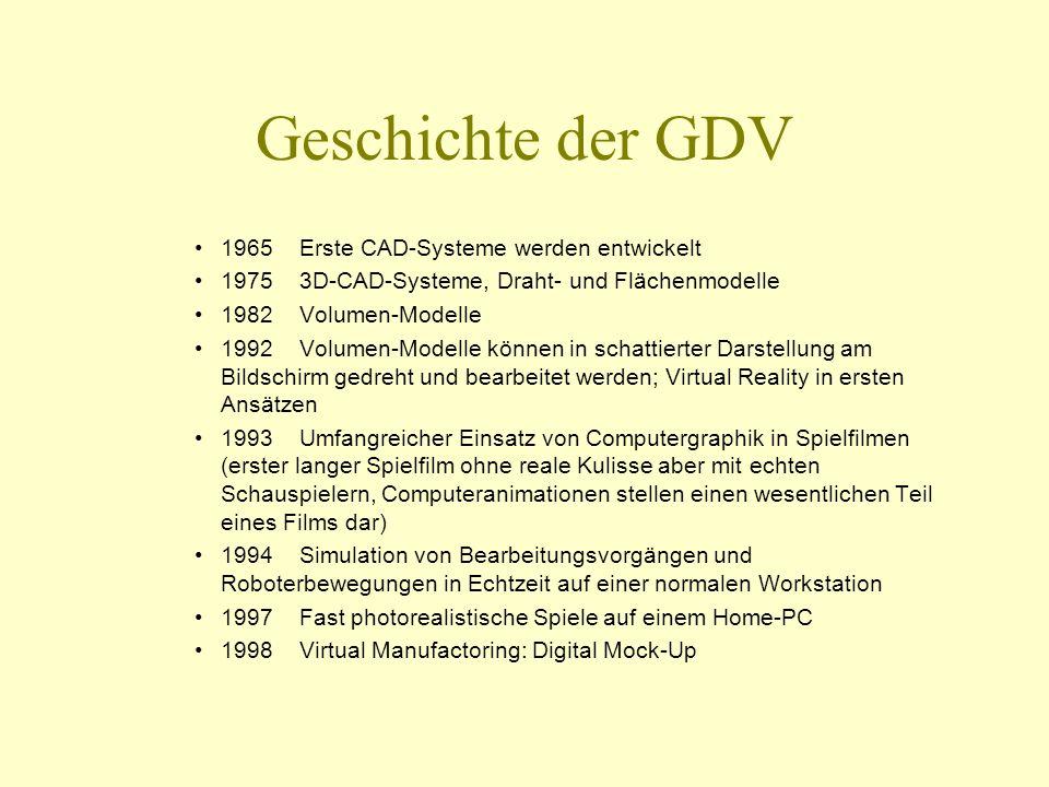 Geschichte der GDV 1965Erste CAD-Systeme werden entwickelt 19753D-CAD-Systeme, Draht- und Flächenmodelle 1982Volumen-Modelle 1992Volumen-Modelle könne