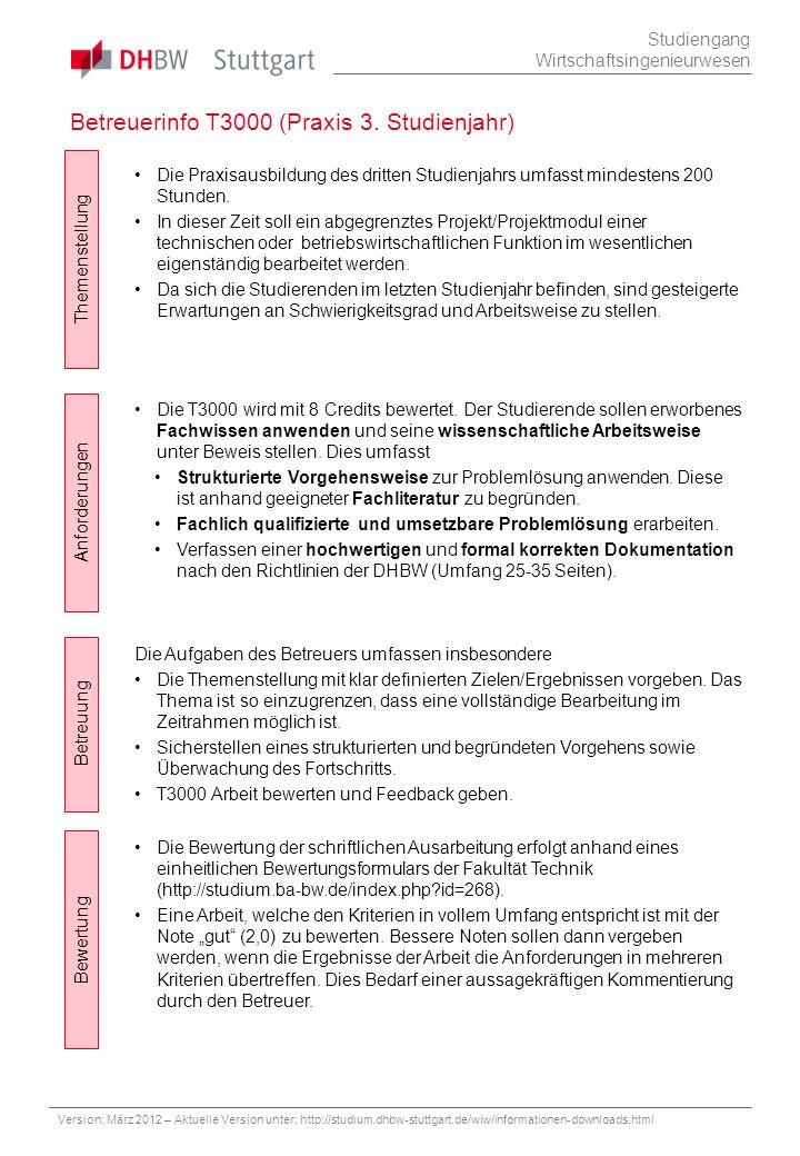 Betreuerinfo T3000 (Praxis 3. Studienjahr) Studiengang Wirtschaftsingenieurwesen Themenstellung Betreuung Bewertung Anforderungen Die Bewertung der sc