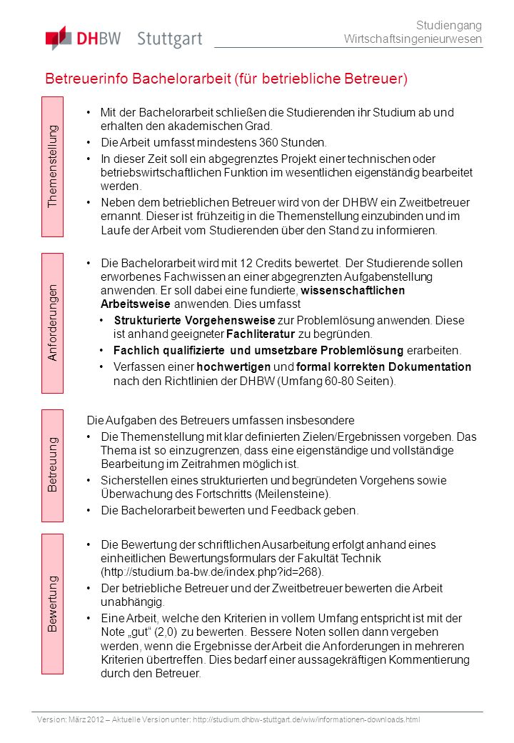 Betreuerinfo Bachelorarbeit (für betriebliche Betreuer) Studiengang Wirtschaftsingenieurwesen Themenstellung Betreuung Bewertung Anforderungen Die Bew