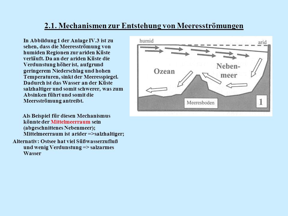 2.1. Mechanismen zur Entstehung von Meeresströmungen In Abbildung 1 der Anlage IV.3 ist zu sehen, dass die Meeresströmung von humiden Regionen zur ari