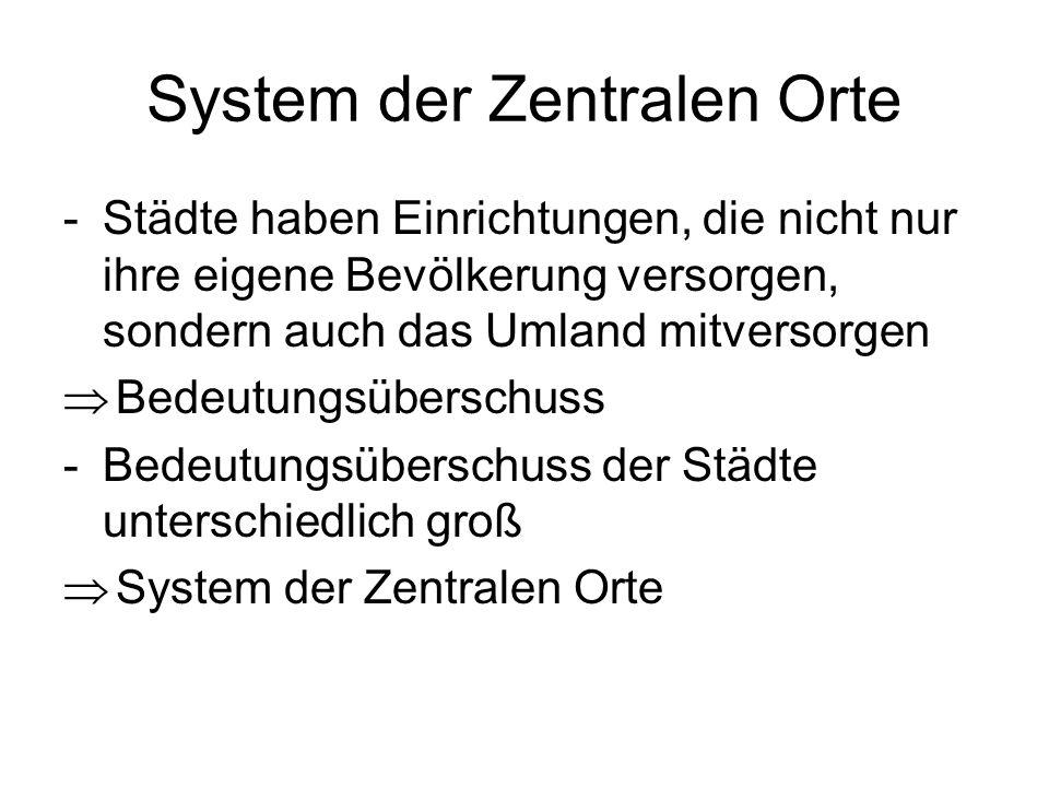System der Zentralen Orte -Städte haben Einrichtungen, die nicht nur ihre eigene Bevölkerung versorgen, sondern auch das Umland mitversorgen Bedeutung
