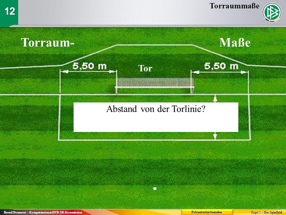 Torraum-Maße Tor Abstand von der Torlinie? Torraummaße Regel 1 – Das Spielfeld Bernd Domurat – Kompetenzteam DFB-SR-Kommission Präsentation beenden