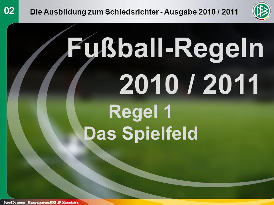 Fußball-Regeln 2010 / 2011 Regel 1 Das Spielfeld Bernd Domurat – Kompetenzteam DFB-SR-Kommission Die Ausbildung zum Schiedsrichter - Ausgabe 2010 / 20