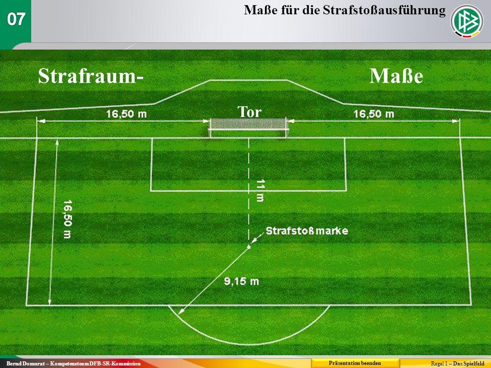 Strafraum-Maße Tor Regel 1 – Das Spielfeld Maße für die Strafstoßausführung Präsentation beenden Bernd Domurat – Kompetenzteam DFB-SR-Kommission