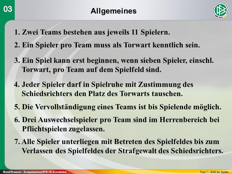 Allgemeines Bernd Domurat – Kompetenzteam DFB-SR-KommissionRegel 3 – Zahl der Spieler 1.