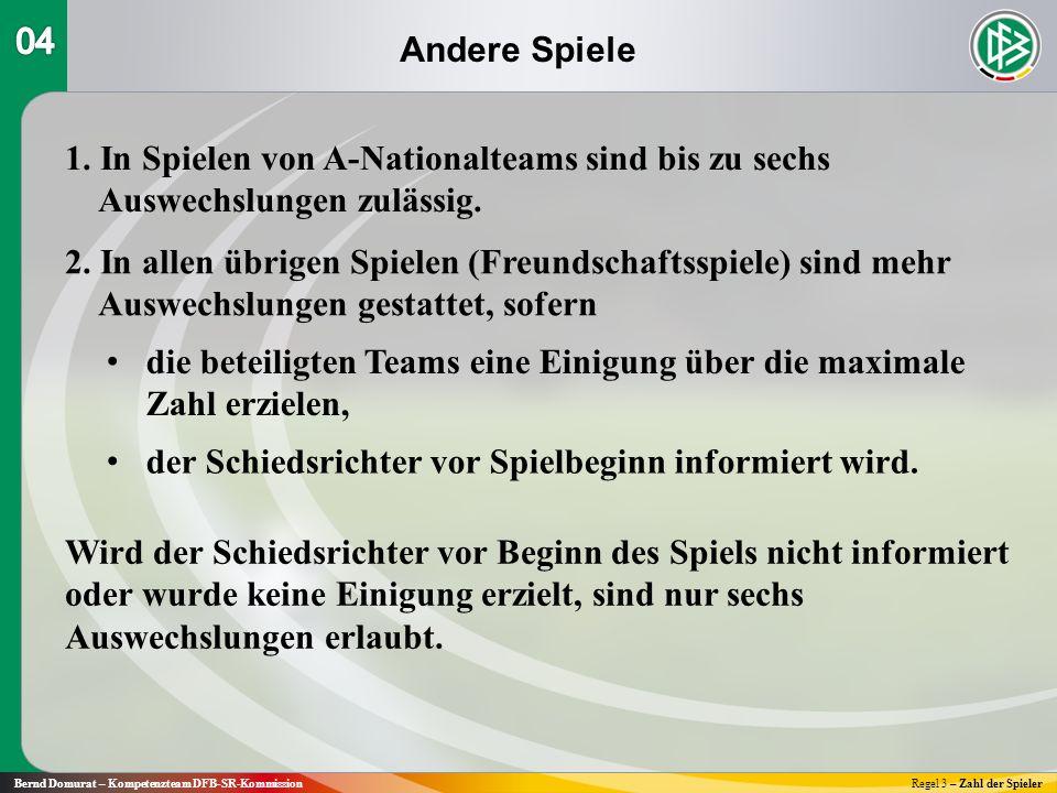 Andere Spiele Bernd Domurat – Kompetenzteam DFB-SR-KommissionRegel 3 – Zahl der Spieler 1.