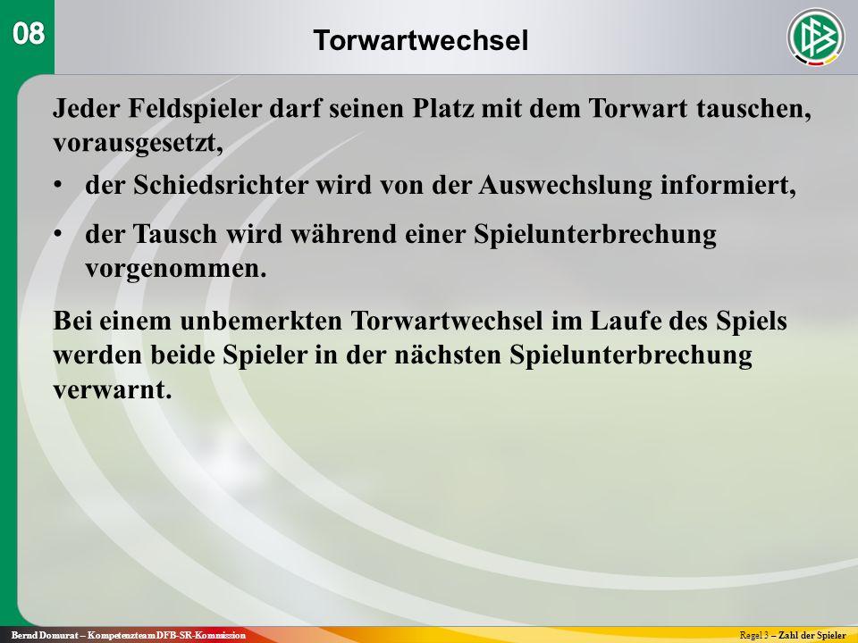 Torwartwechsel Bernd Domurat – Kompetenzteam DFB-SR-KommissionRegel 3 – Zahl der Spieler Jeder Feldspieler darf seinen Platz mit dem Torwart tauschen, vorausgesetzt, der Schiedsrichter wird von der Auswechslung informiert, der Tausch wird während einer Spielunterbrechung vorgenommen.