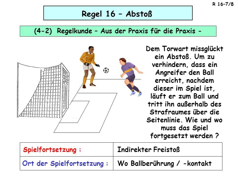 Regel 16 – Abstoß Kann aus einem Abschlag des Torwarts ein Tor direkt erzielt werden .