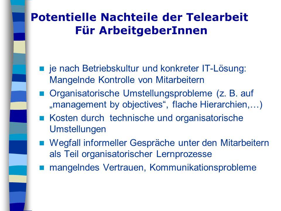 Potentielle Nachteile der Telearbeit Für ArbeitgeberInnen je nach Betriebskultur und konkreter IT-Lösung: Mangelnde Kontrolle von Mitarbeitern Organis